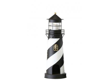 Laterne Leuchtturm Maasholm schwarz weiß aus Metall 46 cm