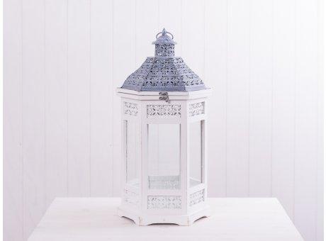 Laterne Nancy weiß 63 cm sechseckige Form aus Holz mit Metalldach oben zu öffnen