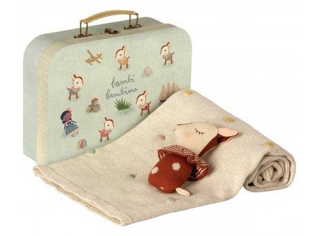 Maileg Baby Geschenk Set Braun Bambi Rassel und Wolldecke im Koffer Maileg Baby Gift Set Rust Brown Model 19-9320-02