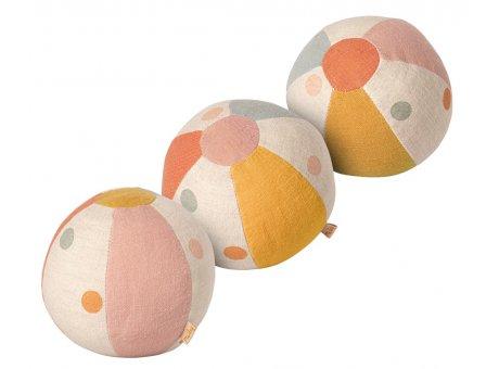 Maileg Ball 3er Set Baumwolle Leinen mit Glocke Maileg Spielzeug Nr 19-1501-00