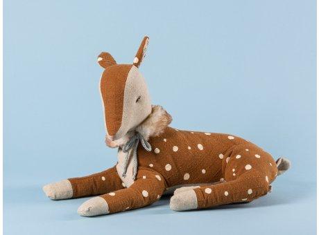 Maileg Bambi Boy klein Reh braun mit Punkten Fell Plüsch Kragen 26 cm lang Winter