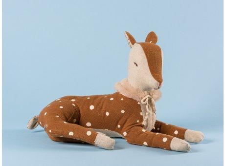 Maileg Bambi Girl klein Reh braun mit Punkten Fell Plüsch Kragen 26  cm lang Winter