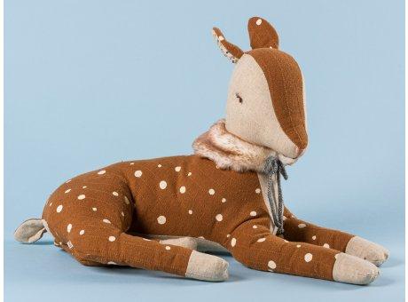 Maileg Bambi Groß Reh braun mit Punkten Fell Plüsch Kragen 29 cm lang Winter