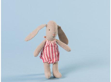 Maileg Hase Häschen Bunny Mädchen in rotem Kleid Micro 13 cm hoch aus Baumwolle und Leinen