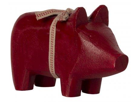 Maileg Holzschwein Klein Kerzenträger Rot mit Schleife Weihnachten Deko Nr.14-1800-00