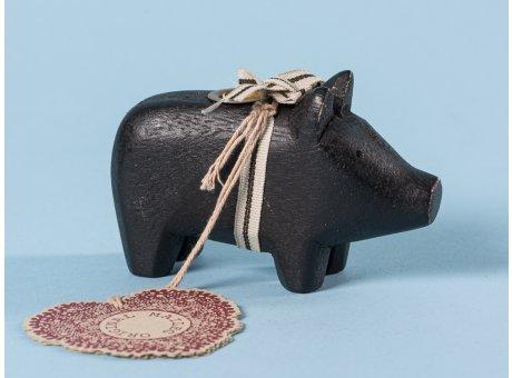 Maileg Holzschwein Schwarz klein Kerzenschwein Kerzenhalter für eine Kerze 5 cm Weihnachtsdeko