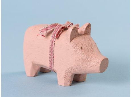 Maileg Holzschwein Schwein Kerzenschwein Holz Klein Puder für 1 Kerze 10 cm lang aus Holz als Geschenk und Glücksbringer