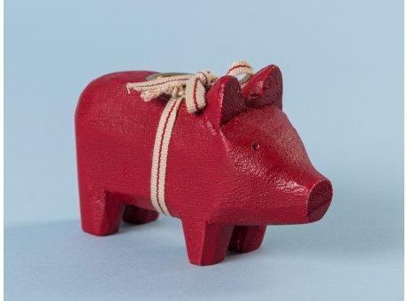 Maileg Holzschwein Schwein Kerzenschwein Holz Klein Rot für 1 Kerze 10 cm lang aus Holz als Geschenk und Glücksbringer