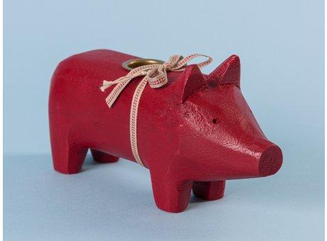 Maileg Holzschwein Schwein Kerzenschwein Holz Medium Rot für 1 Kerze 19 cm lang aus Holz als Geschenk und Glücksbringer