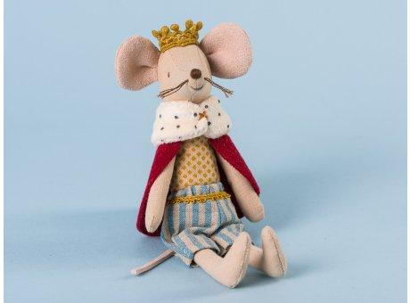 Maileg König Maus mit rotem Umhang und Fellkragen hellblau gestreifte Hose Royal King in feiner Robe mit Krone 15cm hoch
