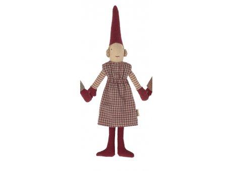 Maileg Mädchen rotes Kleid Strumpfhose Weihnachten Dekoration Figur Pixy Nr.14-1410-02