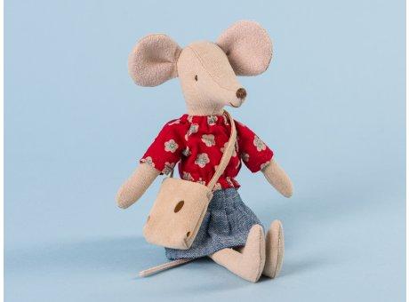 Maileg Mama Maus in rotem Shirt mit Blumen Muster und Jeans Rock Tasche als Käse Löchern 15 cm hoch