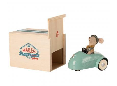Maileg Maus Auto Blau mit Garage aus Holz 3 tlg Maileg Set Nr 16-0727-00