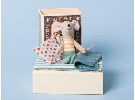 Maileg Maus kleiner Bruder in Box mit Decke und Kissen in Streichholzschachtel 10 cm groß