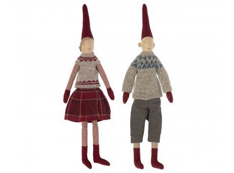 Maileg Paar Pixy Mittelgroß gemütliche und kuschelige Weihnachtsoutfits  mit Zipfelmützen Nr.14-1431-00