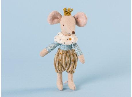Maileg Prinz Maus mit gestreifter Pump Hose Fellkragen und kleiner Krone Großer Bruder 13cm hoch