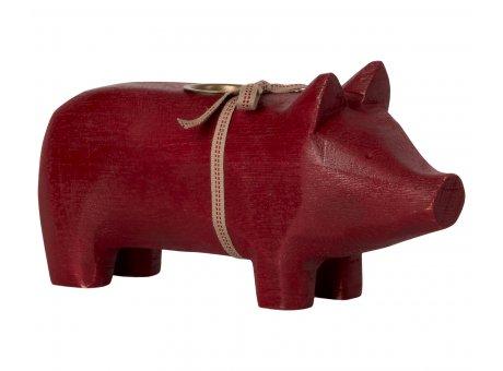 Maileg Schwein Rot in Medium Kerzenträger Tischdekoration Weihnachten Holz Nr.14-1801-00