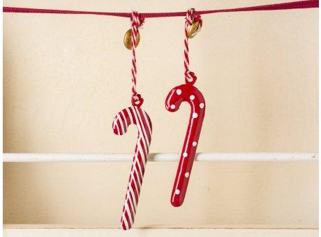 Maileg Tannenbaum Anhänger Zuckerstange Rot Weiss 2er Set 6 cm hoch aus Metall handbemalt als Weihnachtsbaum Schmuck zur Dekoration