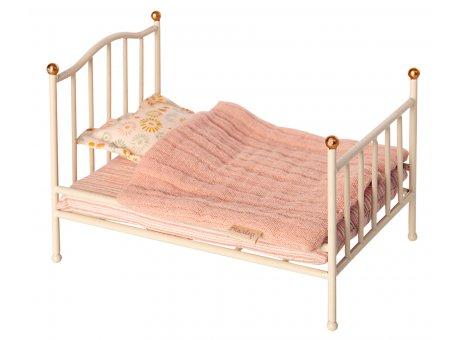 Maileg Vintage Bett Weiß Metall mit Matratze, Decke und Kissen Nr 11-0111-00