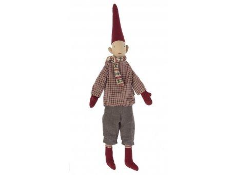 Maileg Weihnachtlicher Zwerg Mittelgroß verspielter Schal mit Muster winterlich gekleidet durch Weihnachtszeit Pixy Nr.14-1420-03