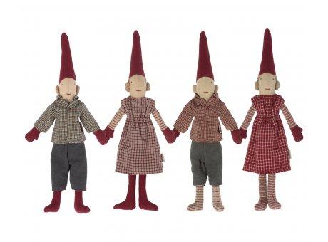 Maileg Weihnachtswichtel Set magnetisch Jungen und Mädchen Rot und Anthrazit kariert Zipfelmützen Deko Weihnachten Pixy Freunde Nr.14-1410-00