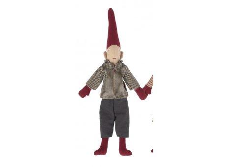 Maileg Wichtel Junge rote Mütze Graue Hose Kariertes Hemd Pixy Freunde Nr.14-1410-01