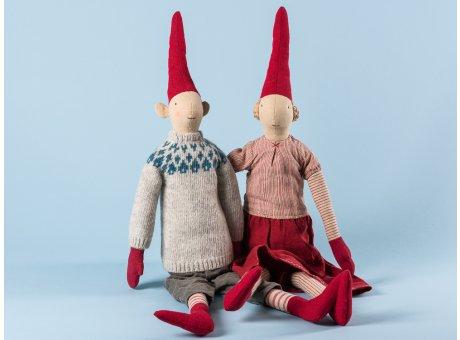 Maileg Wichtel Laura und Lars Maxi Pixy Junge und Mädchen XL Kuscheltier Weihnachtsdekoration 62 cm