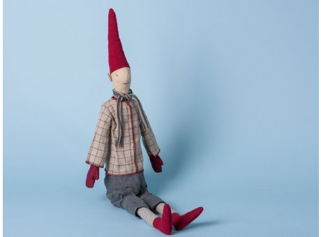 Maileg Wichtel Medium Pixi Morton Weihnachtswichtel 53 cm Nisse Hemd kariert Schal