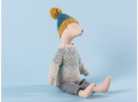Maileg Winter Mouse Medium Boy Junge Maus mit blauer Wollmütze und Strickpulli 31 cm hoch