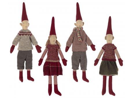 Maileg Winter Wichtel Strickkleidung Schal und Mütze WichtelmännchenZwergenmädchen mit Zöpfen Pärchen Freunde Pixy Nr.14-1420-00