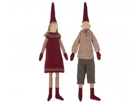 Maileg Zwergen Pärchen Winter Kuschelige Weihnachtszeit Dekoration Spielzeug Puppen Baumwolle Rot Grau Beige Pixy Nr.14-1430-00