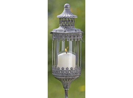 Metall Laterne Bristol auf Stab Gartendeko im Vintage Stil Windlicht