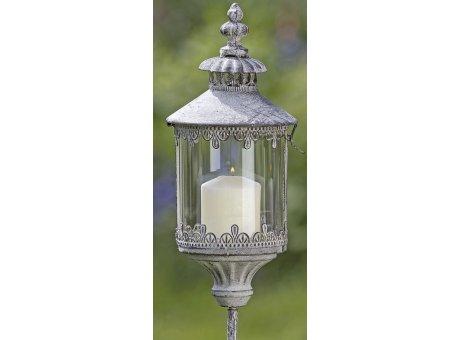 Metall Laterne Dover auf Stab Gartendeko im Vintage Stil Windlicht