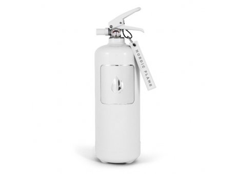 Nordic Flame Feuerlöscher Weiss Silber Design Brandschutz 2Kg ABC Löscher N100