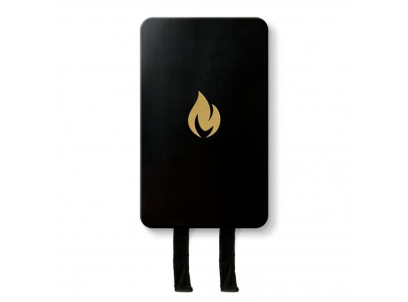Nordic Flame Feuer Löschdecke Schwarz Gold Design Brandschutz Wandhalterung Aluminium Box  mit Emblem in Gold N230