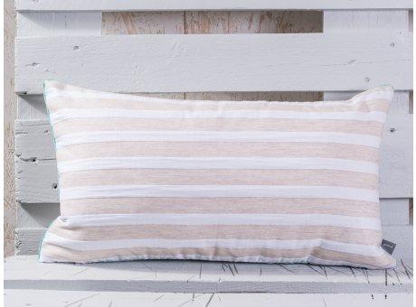pad concept Kissen Mila 2.0 Streifen taupe beige creme gestreift Keder aqua türkis pink 60 cm Querformat Kissenbezug