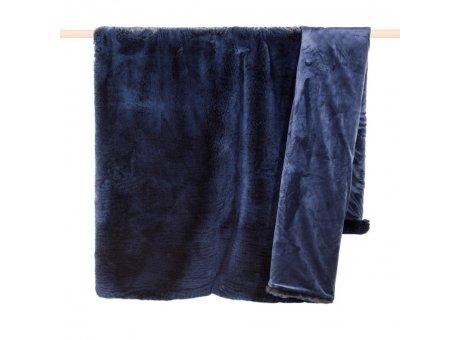 Pad Decke Champagne Blau Felldecke 140x190 dunkelblau Kuscheldecke