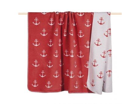 Pad Decke Sailor rot weiß Wolldecke fuchsia mit Ankern von pad concept
