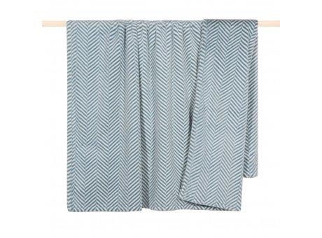 Pad Decke ZELLA Blau Fischgrät Felldecke 140x190 Pad Wohndecke Nr 13384