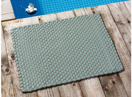 Pad Fussmatte Outdoor Teppich POOL Opal Türkis Sand 52x72 cm zweifarbig am Schwimmbecken oder auf der Terrasse als Fussmatte UV und Wetterbeständig Web-Look für draussen und drinnen