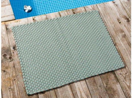 Pad Fussmatte Outdoor Teppich POOL Opal Türkis Sand 72x92 cm zweifarbig am Schwimmbecken oder auf der Terrasse als Fussmatte UV und Wetterbeständig Web-Look für draussen und drinnen