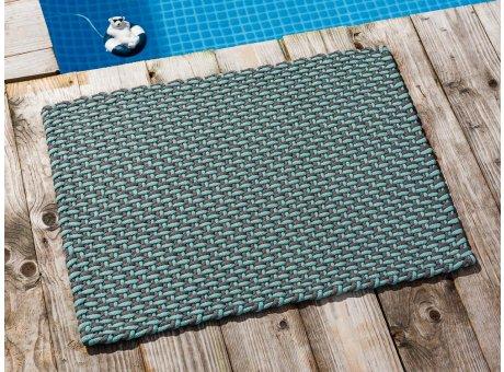 Pad Fussmatte Outdoor Teppich POOL Opal Türkis Stone Grau 52x72 cm zweifarbig am Schwimmbecken oder auf der Terrasse als Fussmatte UV und Wetterbeständig Web-Look für draussen und drinnen