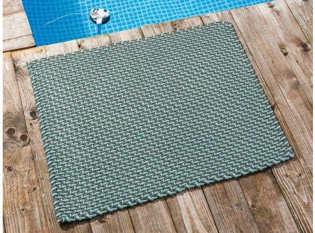 Pad Fussmatte Outdoor Teppich POOL Opal Türkis Stone Grau 72x92 cm zweifarbig am Schwimmbecken oder auf der Terrasse als Fussmatte UV und Wetterbeständig Web-Look für draussen und drinnen