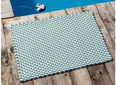Pad Fussmatte Outdoor Teppich POOL Opal Türkis Weiss 52x72 cm zweifarbig am Schwimmbecken oder auf der Terrasse als Fussmatte UV und Wetterbeständig Web-Look für draussen und drinnen