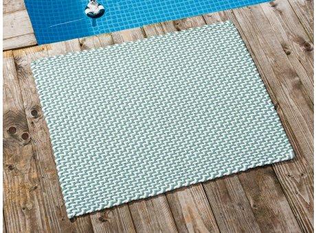 Pad Fussmatte Outdoor Teppich POOL Opal Türkis Weiss 72x92 cm zweifarbig am Schwimmbecken oder auf der Terrasse als Fussmatte UV und Wetterbeständig Web-Look für draussen und drinnen
