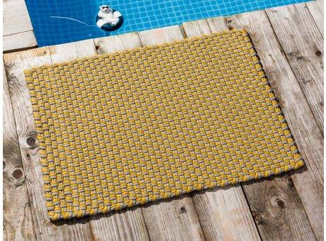 Pad Fussmatte Outdoor Teppich POOL Sand Gelb 52x72 cm zweifarbig am Schwimmbecken oder auf der Terrasse als Fussmatte UV und Wetterbeständig Web-Look für draussen und drinnen