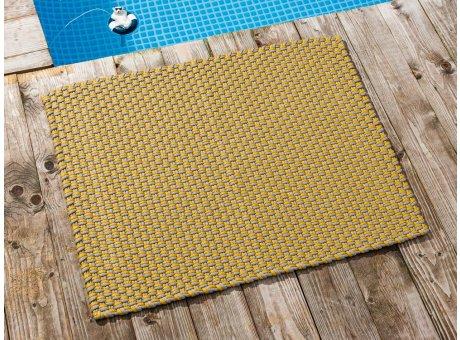 Pad Fussmatte Outdoor Teppich POOL Sand Gelb 72x92 cm zweifarbig am Schwimmbecken oder auf der Terrasse als Fussmatte UV und Wetterbeständig Web-Look für draussen und drinnen