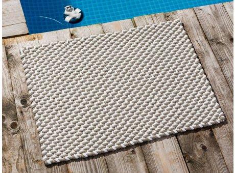 Pad Fussmatte Outdoor Teppich POOL Sand Weiss 52x72 cm zweifarbig am Schwimmbecken oder auf der Terrasse als Fussmatte UV und Wetterbeständig Web-Look für draussen und drinnen