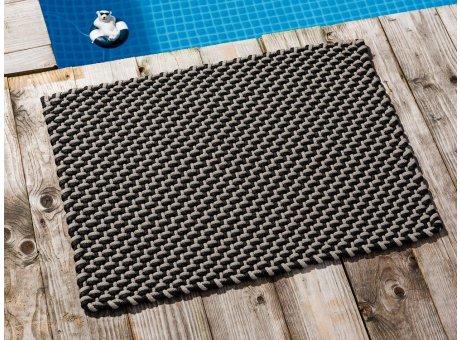 Pad Fussmatte Outdoor Teppich POOL Schwarz Sand 52x72 cm zweifarbig am Schwimmbecken oder auf der Terrasse als Fussmatte UV und Wetterbeständig Web-Look für draussen und drinnen