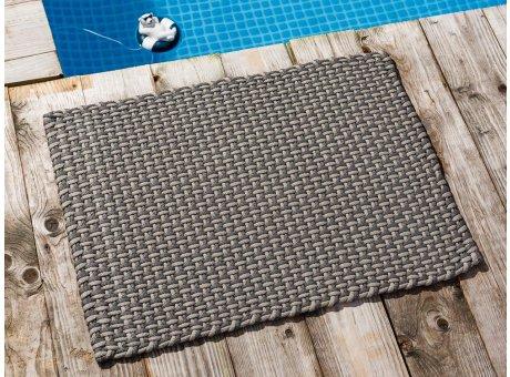 Pad Fussmatte Outdoor Teppich POOL Stone Grau Sand 52x72 cm zweifarbig am Schwimmbecken oder auf der Terrasse als Fussmatte UV und Wetterbeständig Web-Look für draussen und drinnen